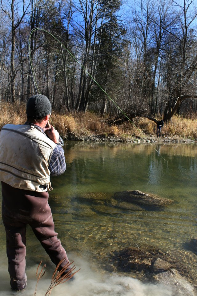Fighting a steelhead on the Bayfield River, southern Ontario